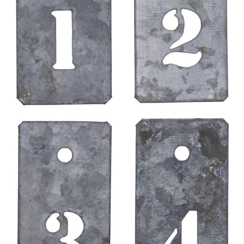 MADAM STOLTZ - SET OF NUMBERED ZINC METAL TAGS 1234 -  - GIFT TAG - THE HOUSE JAR