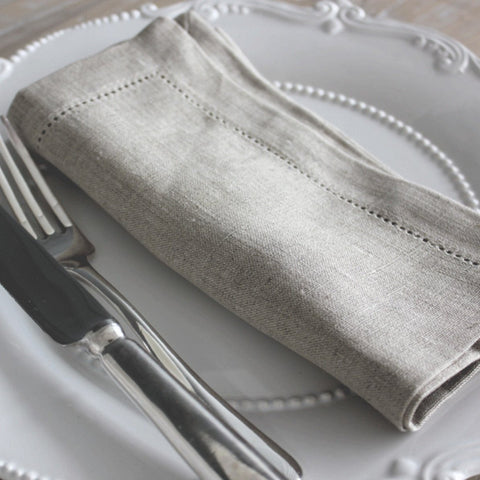 BIGGIE BEST - SET OF 4 HEM STITCHED LINEN NAPKIN - NATURAL -  - Table Linen - THE HOUSE JAR