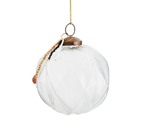 GEO CLEAR GLASS CHRISTMAS BAUBLE WITH BEADS - 3 SIZES