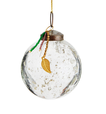 RECYCLED BUBBLE GLASS CHRISTMAS BAUBLE - 2 SIZES