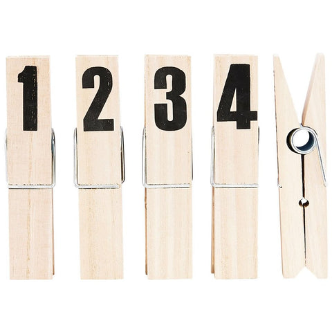 SET OF 1234 NUMBERED OVERSIZED WOODEN PEGS