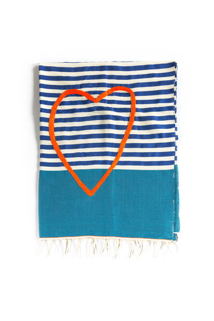 Artisan Project Beach Towel Stripes Heart Embroidery Flat Lay