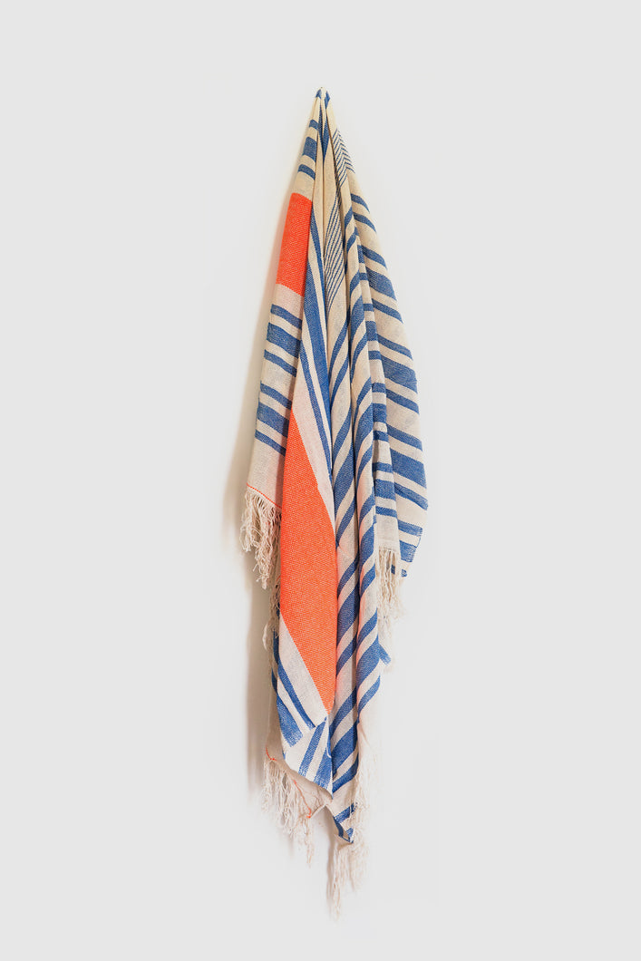 Artisan Project Moroccan Large Towel with Blue & Orange Stripe