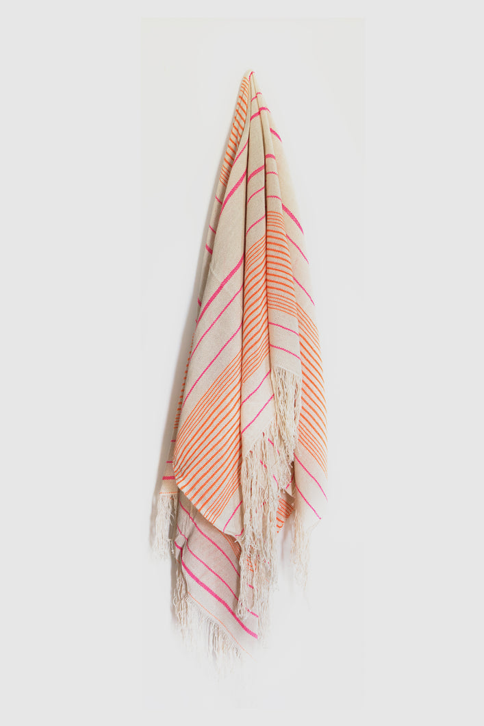 Artisan Project Moroccan Large Towel with Orange & Pink Stripe