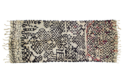 Vintage Moroccan Azilal Rug Ivory and Black with Coloured Flecks
