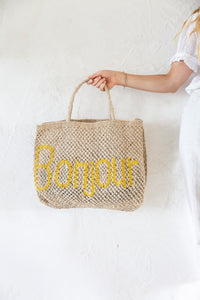 Bonjour Jute Bag - Nat/Yellow