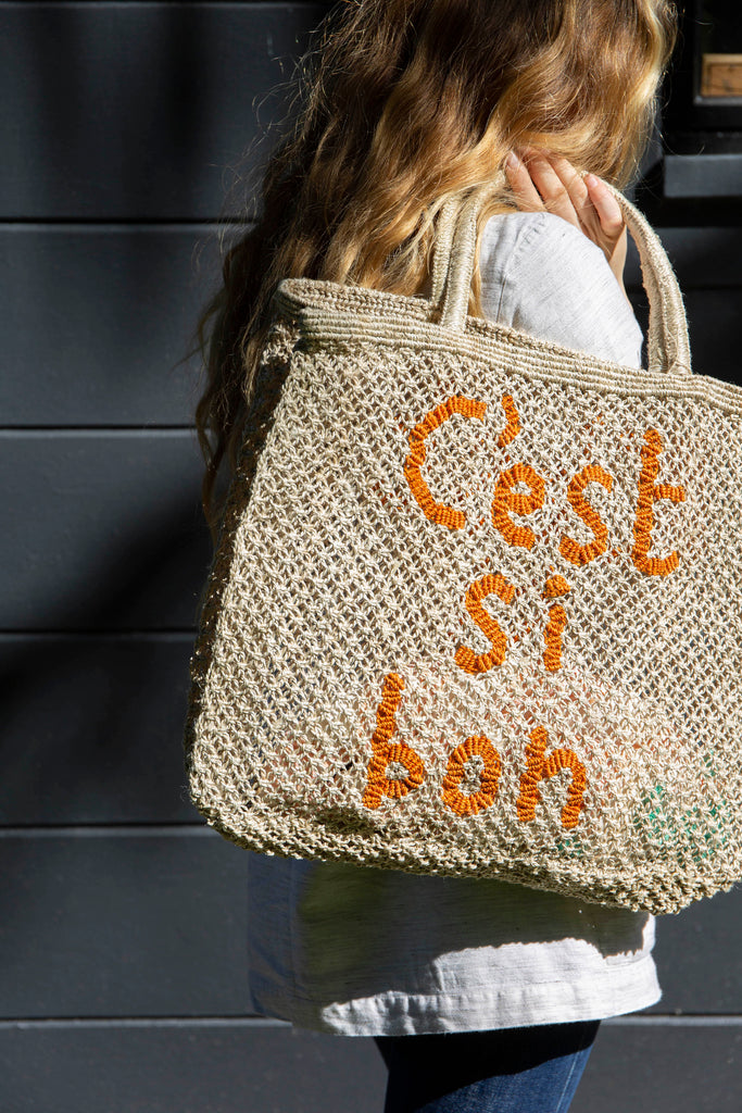 C'est Sibon Jute Bag - Nat/Orange