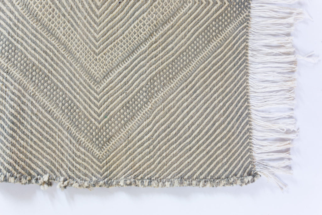 Long Neutral Moroccan Kilim Runner