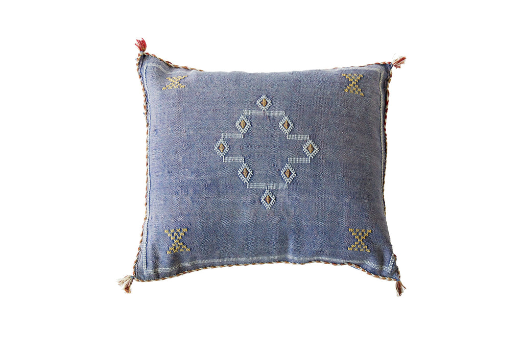 Cactus Silk Cushion Blue Moroccan
