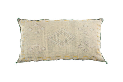 Cactus Silk Cushion Long Grey Berber Symbols