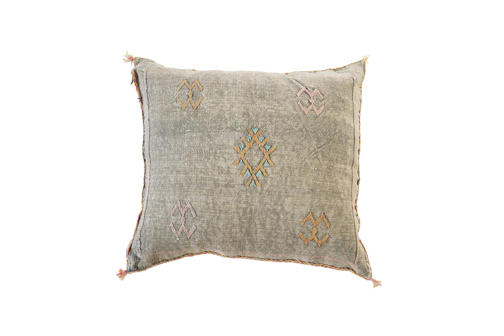 Cactus Silk Cushion Grey Moroccan