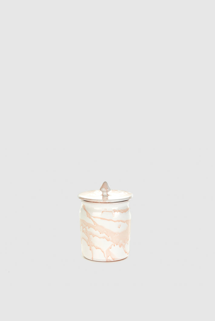 Jar with Lid - White/Blush Marble