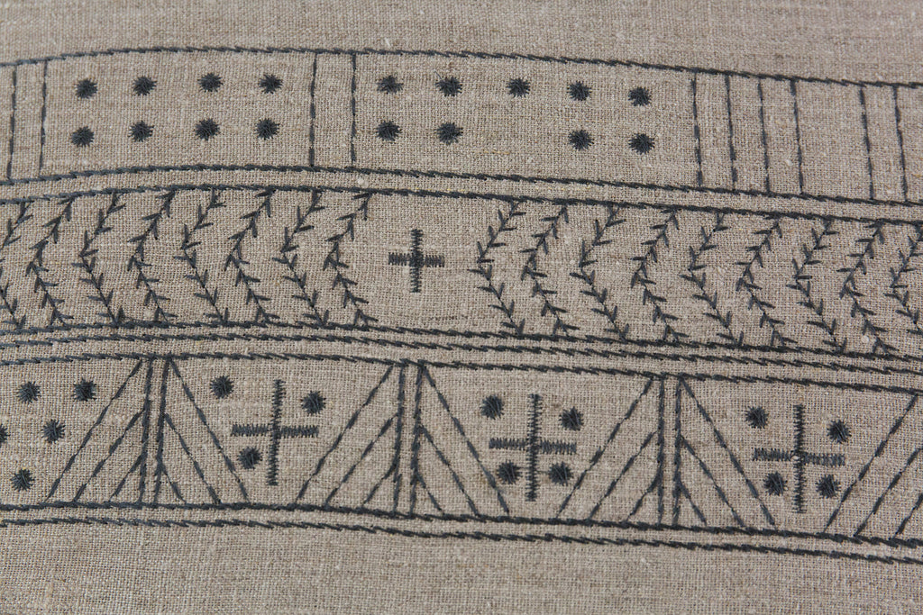 Cross Embroidered Linen Cushion