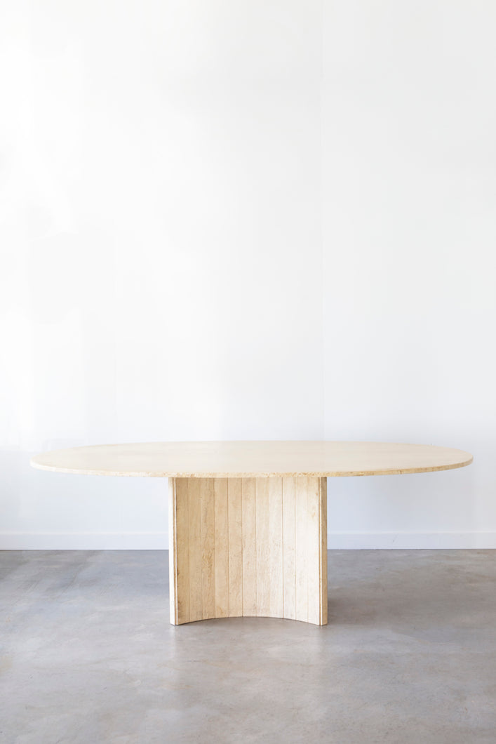 Travertine Elliptical Dining Table
