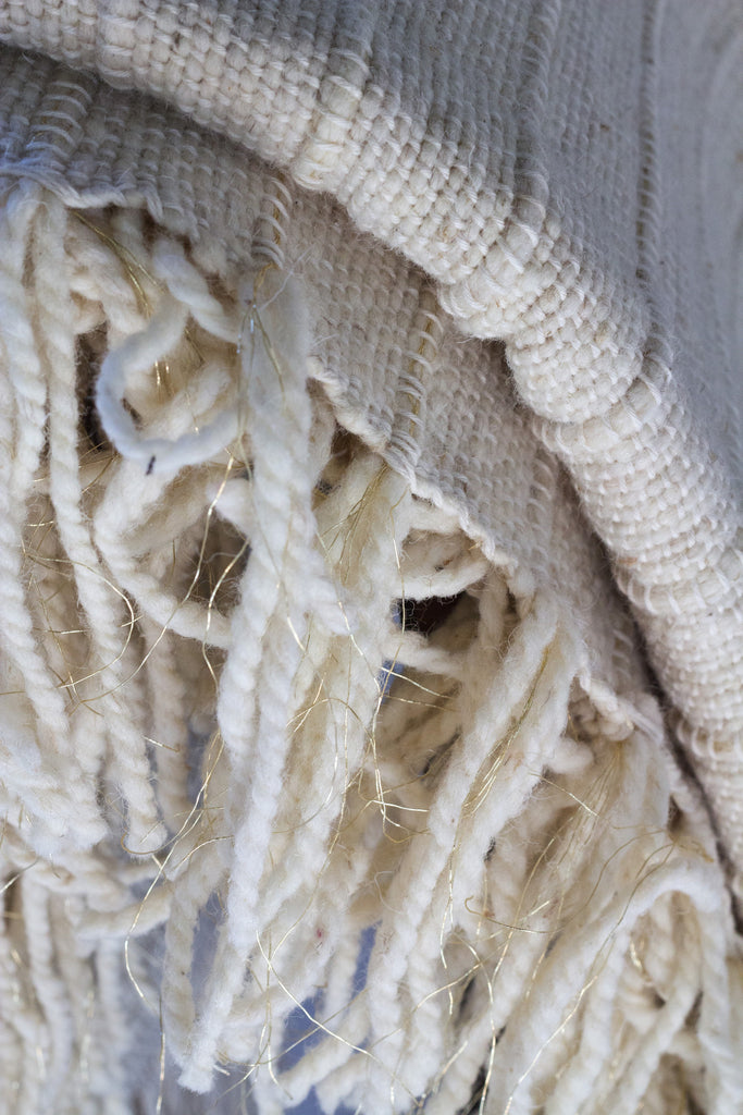 Moroccan Artisan Blanket in Ivory Wool with Gold Threading Detail