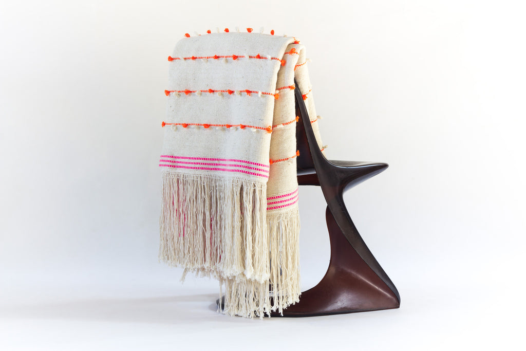 Moroccan Artisan Blanket in Ivory with Orange and Pink