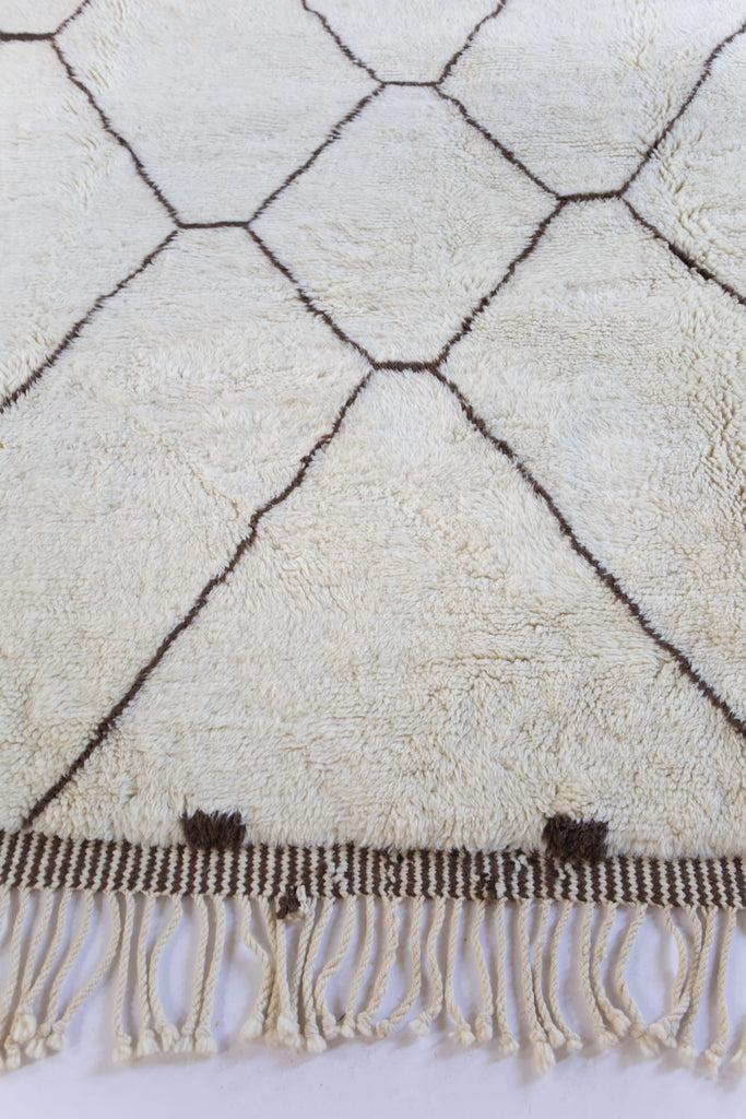 Moroccan Large Area Rug Beni M'Rirt Ivory Brown