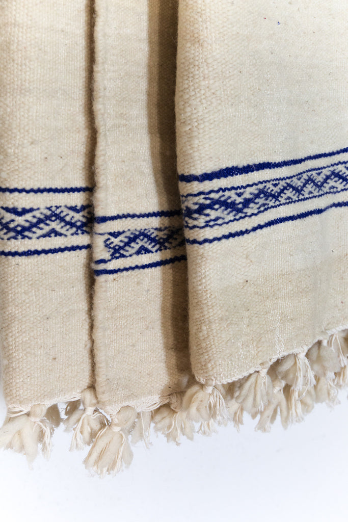 Moroccan Wool Blanket - Embroidered