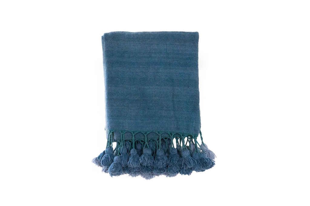 Artisan Project Blue Pom-Pom Blanket
