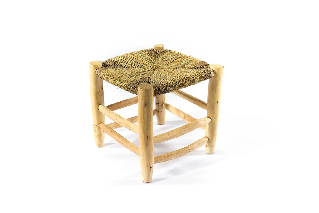 Rattan and Timber Moroccan Stool