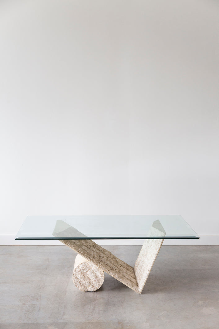Glass Top Retro Travertine Coffee Table