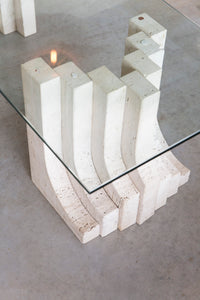 Stepped Leg / Glass Top Travertine Coffee Table