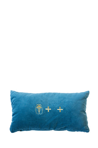 Velvet Cushion - Blue Small