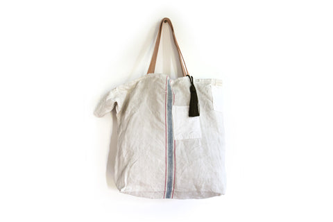 Vintage French Linen Grain Sack Shopper Bag