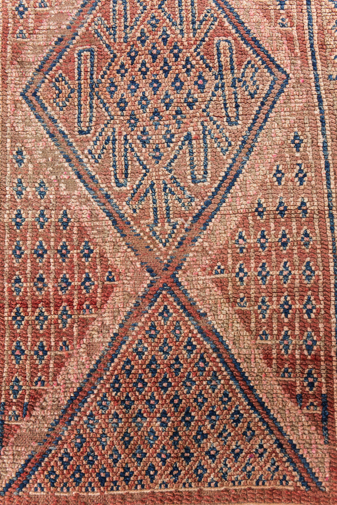 Moroccan Boujad Rug Muted Red Pink Navy