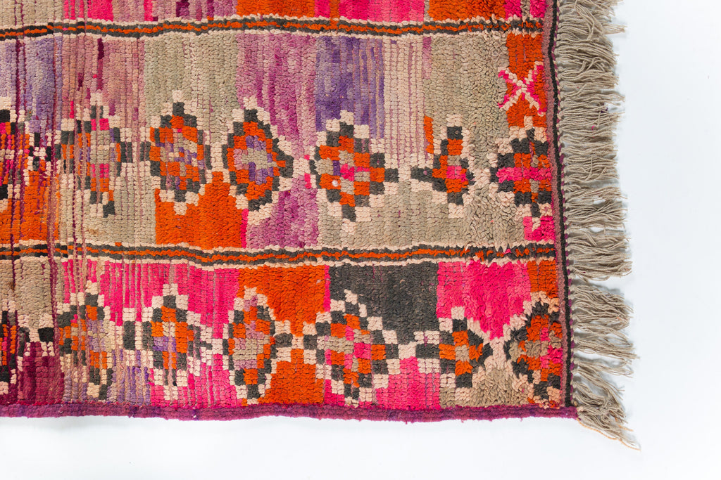 Vintage Moroccan Boujad Rug in Pink, Purple, Orange and Creams