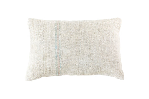 Turkish Kilim Cushion Ivory Peach Blue Stripe