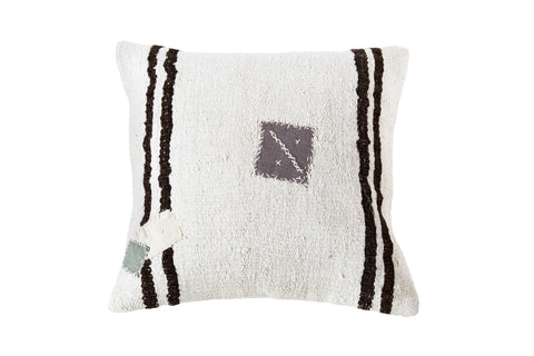 Turkish Kilim Cushion Ivory Brown Patches