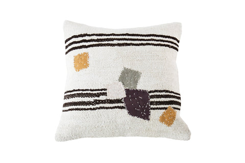 Turkish Kilim Cushion Ivory Stripes Patches