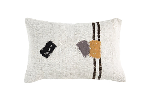 Turkish Kilim Cushion Ivory Stripe Patches