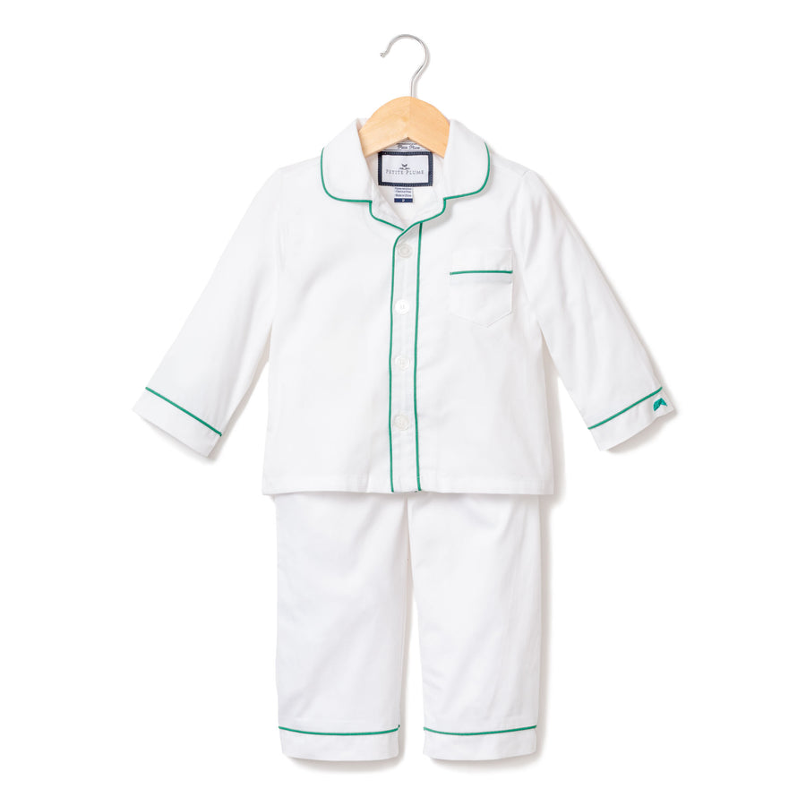 Classic White with Green Piping Pajama Set (Kids)