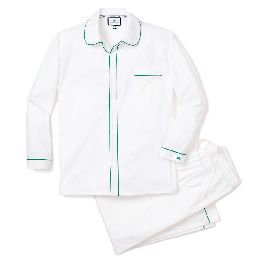 Classic white with Green Piping Pajama Set (Adult)
