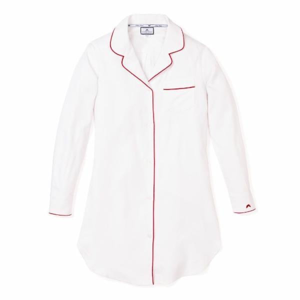 Women's Classic White with Red Piping Nightshirt
