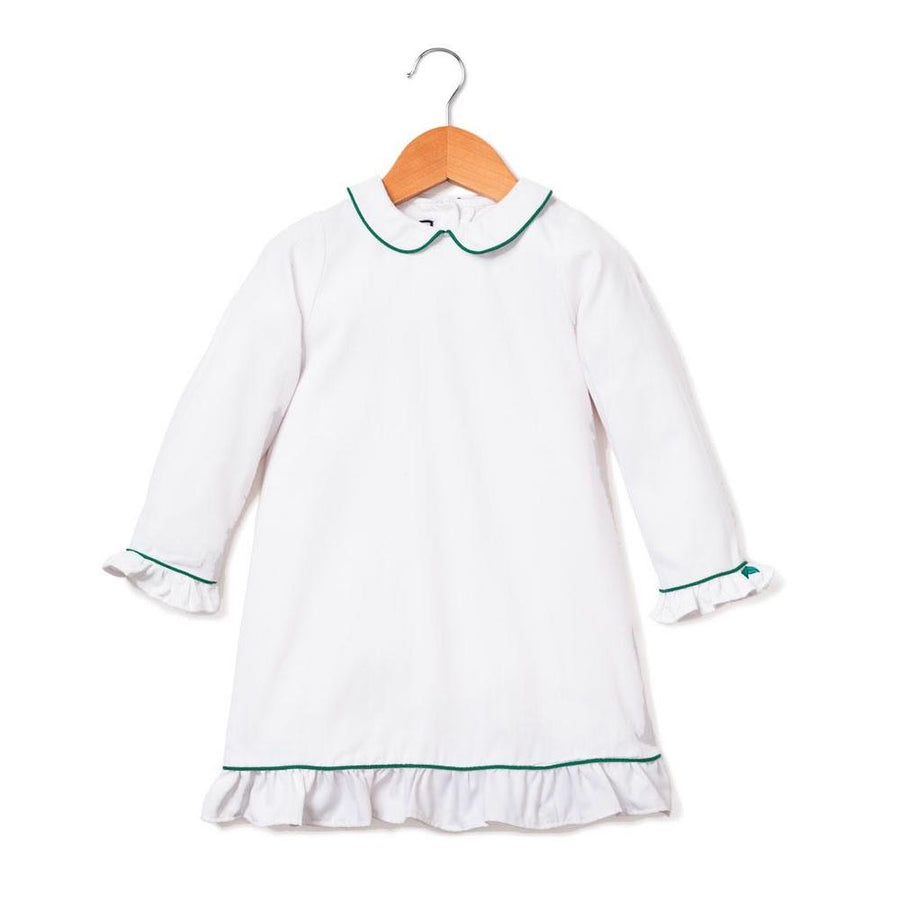 White Nightgown with Green Piping (Kids)