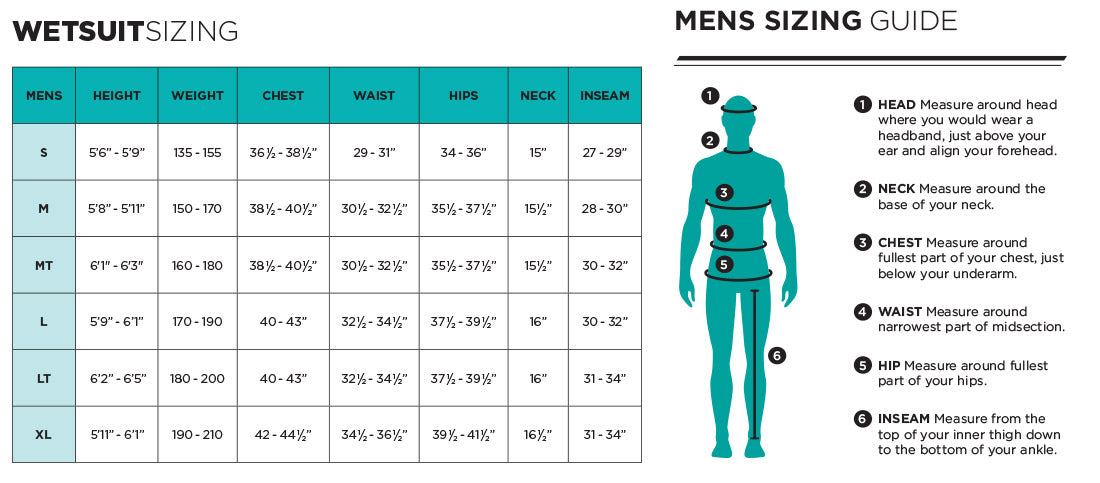 Ride Engine Apoc 5/4 Hooded Wetsuit - 2019 Size Chart