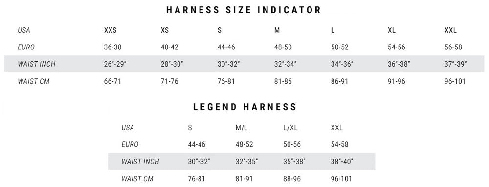 Mystic Legend 2018 Size Guide Sizing