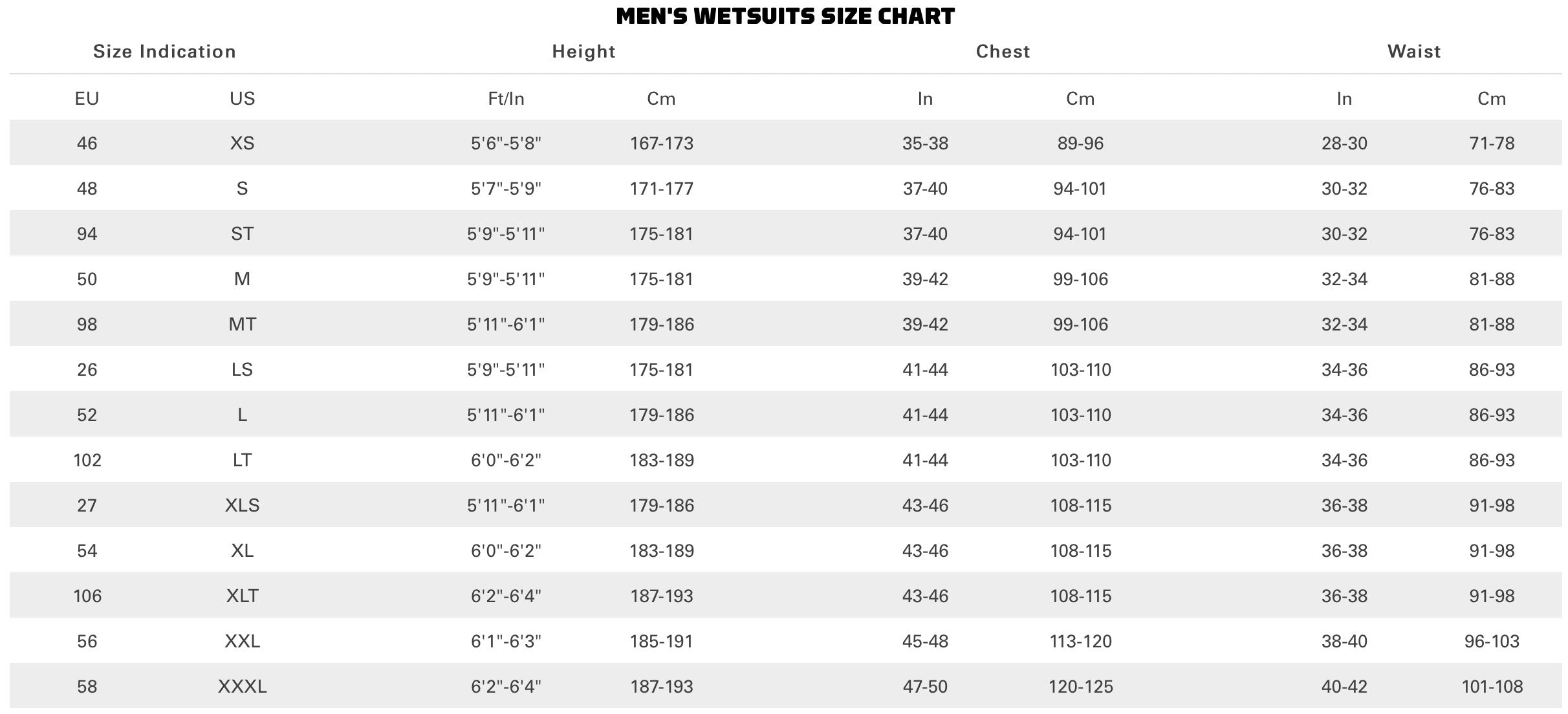 Neilpryde Wetsuit Size Guide 2019