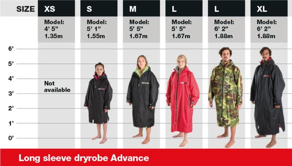 DryRobe Long Sleeve Advance Size Guide