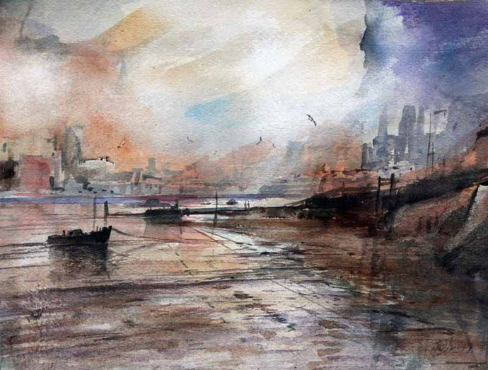 Across the River to Chelsea  - Original Mixed-media Painting by Steve Slimm - Artist Steve Slimm - Online Gallery