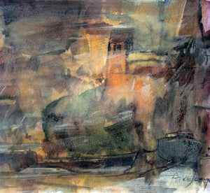 Battersea Barges - Original Mixed-media Painting by Steve Slimm - Artist Steve Slimm - Online Gallery