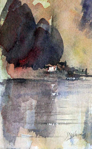 Cottage at River's Edge - Original Watercolour by Steve Slimm - Artist Steve Slimm - Online Gallery