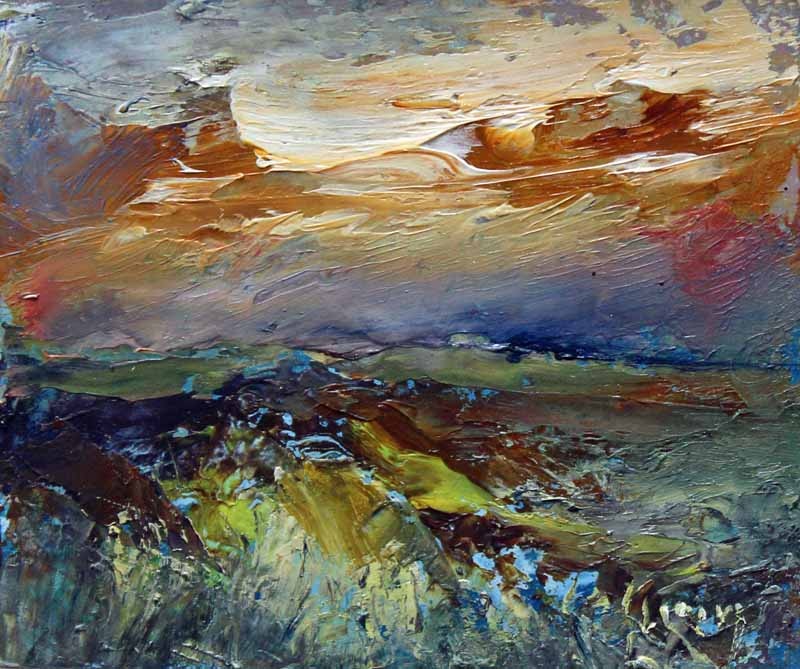 Darkness Under Ochre Sky: Original Oil Painting by Steve Slimm - Artist Steve Slimm - Online Gallery