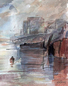 Disused Barge in East End (Thames) - Original Watercolour by Steve Slimm - Artist Steve Slimm - Online Gallery