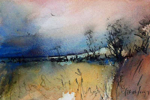Dusky Hedgerow - Original Watercolour by Steve Slimm - Artist Steve Slimm - Online Gallery