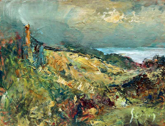 Engine House Near The Cliffs - Original Oil Painting by Steve Slimm - Artist Steve Slimm - Online Gallery