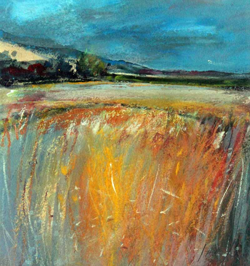 Fields Near Tavistock - Original Mixed-media Painting by Steve Slimm - Artist Steve Slimm - Online Gallery